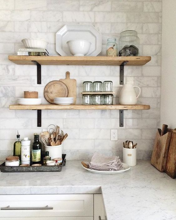 Open Shelving In The Kitchen: Open Shelving, Subway Tile & Our Kitchen Progress Update